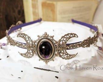 AMETHYST TRIPLE MOON - Circlet, Diadem, Headdress, Renaissance Crown by Crow Haven Road