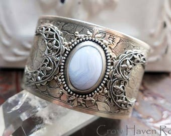 BLUE LACE AGATE - Triple Moon Goddess Cuff Bracelet by Crow Haven Road