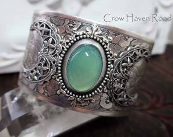 GREEN CHALCEDONY - Triple Moon Goddess Cuff Bracelet by Crow Haven Road
