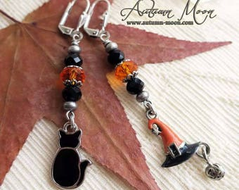 BLACK CAT and the Magical HAT -  Enamel coated witch hat and black cat earrings by Crow Haven Road
