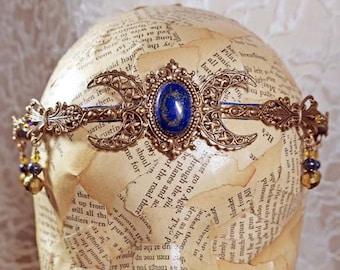 LAPIS LAZULI Triple Moon - Circlet, Diadem, Headdress, Renaissance Crown by Crow Haven Road