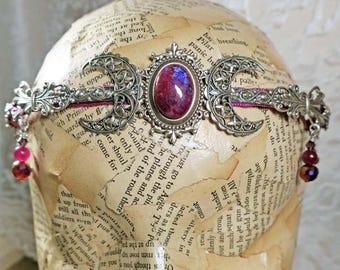 PURPLE RAINBOW MOONSTONE Triple Moon - Circlet, Diadem, Headdress, Renaissance Crown by Crow Haven Road