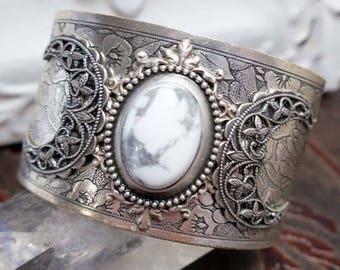 WHITE HOWLITE - Triple Moon Goddess Cuff Bracelet by Crow Haven Road