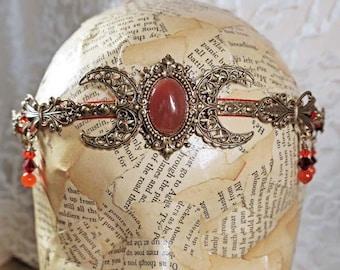 CARNELIAN TRIPLE MOON - Circlet, Diadem, Headdress, Renaissance Crown by Crow Haven Road