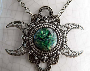 GAEA - Triple Moon Goddess Necklace by Crow Haven Road