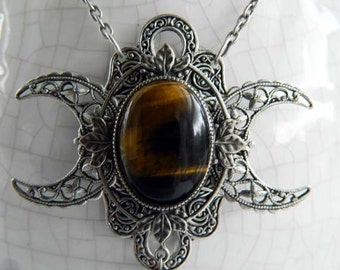 FARORE - Tiger Eye Triple Moon Goddess Necklace by Crow Haven Road