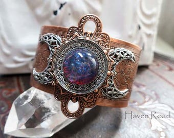 FIRE AND ICE - Triple Moon Goddess Cuff Bracelet by Crow Haven Road
