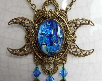 LADY of the LAKE - aged brass -Triple Moon Goddess Necklace by Crow Haven Road