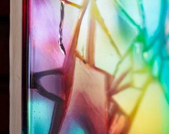 Resin Rainbow Mosaic | Abstract Portrait on Wood Panel