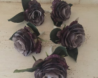 Single Antique Gray Rose Boutonniere