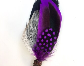 FREE SHIPPING- Purple Rain Feather Grooms Boutonniere