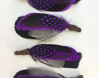 FREE SHIPPING 4 X Purple Rain Feather Boutonnieres