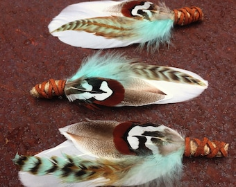 FREE SHIPPING 4 X Raccoon Feather Boutonnieres