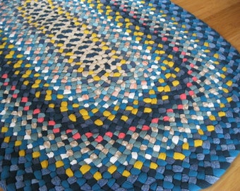New Ready To Ship Handmade Recycled Oval Hand Braided Rug / Rag Rug in Denim and Teal for your Bathroom / Kitchen / Bedroom / Entryway