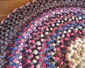 Reserved for Wendy R.  Ready To Ship Round Vintage Wool Braided Rug in Fushia, Rumba Red, and Hyacinth Violet with weaving accents