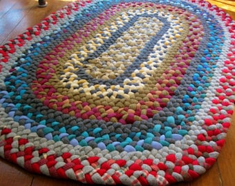 Made To Order Custom Handmade Oval Braided Wool Rug / Rag Rug for your bathroom / kitchen / nursery / entryway in your color choices