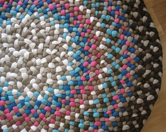 Made To Order Custom Handmade Recycled Hand Braided Round Rug in your color choices for you bathroom / kitchen / nursery / entry way