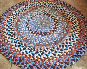 New Ready To Ship Handmade Recycled Denim Braided Round Rug in blues for your bathroom / kitchen / nursery / entry way / kid's room / office