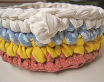 New Ready To Ship Catch-all Fabric Crocheted Basket / Bowl in mustard / baby blue / terra cotta for your kitchen / bathroom / table
