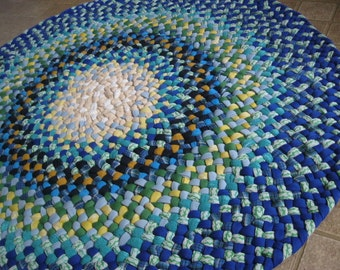 Made to order-Custom Round Braided Rug in Blues from recycled cotton