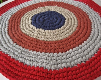Ready To Ship On Sale Crocheted Round Recycled Rug / Rag Rug in Red / White / Blue for your bathroom / kitchen / nursery / kid's room