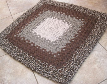 New Ready To Ship Handmade Recycled Braided Square Rug / Rag Rug / Carpet in browns for your bathroom / kitchen / office / entry / laundry