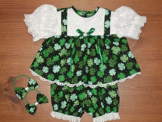 "IRISH GREEN ST PATRICK/'S DAY SPARKLE SHAMROCK DRESS for 16/""CPK Cabbage Patch Kid"