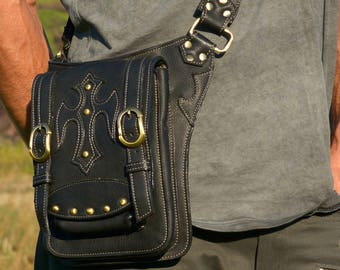 Leather Hip Belt   Messenger Bag   Men Bag   iPad   Travel Belt   Biker   Leg Strap   Urban Hipster   Festival fashion   Burning Man  