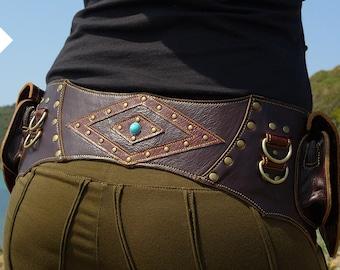 Leather Utility Belt | Festival Hip Belt | Travel Pocket Belt | Renaissance | Boho Gypsy | Burning Man | OFFRANDES