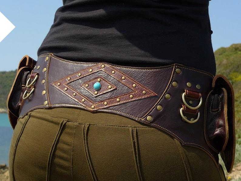 Leather Utility Belt  Festival Hip Belt  Travel Pocket Belt Brown