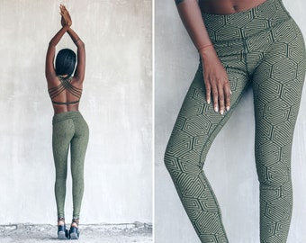 Cotton Leggings | Geometric Print | Organic Yoga pants | Alternative Clothing | Edgy Woman Tights | comfy loungewear Activewear | OFFRANDES