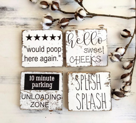 Funny Bathroom Signs Silly Bathroom Decor Bathroom Decor Kids Bathroom Bathroom Wall Decor Bathroom Shelf Sitter Tiered Tray Decor