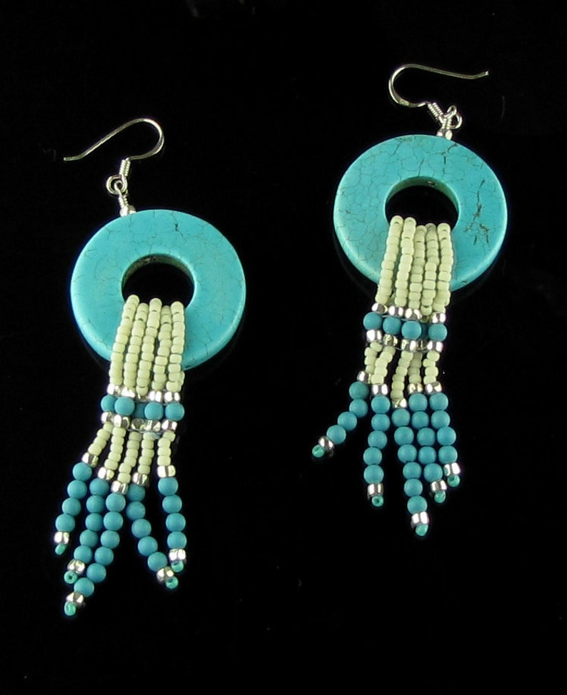 Turquoise Donut Earrings image 0