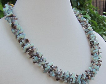 White and Gold Flower Kumihimo Necklace