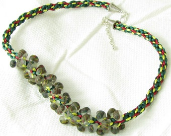 Green, Yellow and Red Kumihimo Necklace with Teardrop Beads