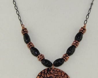 Copper and Shell Om Necklace