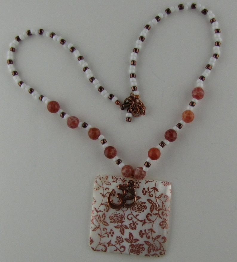 Flame Agate and Copper Shell Necklace image 0
