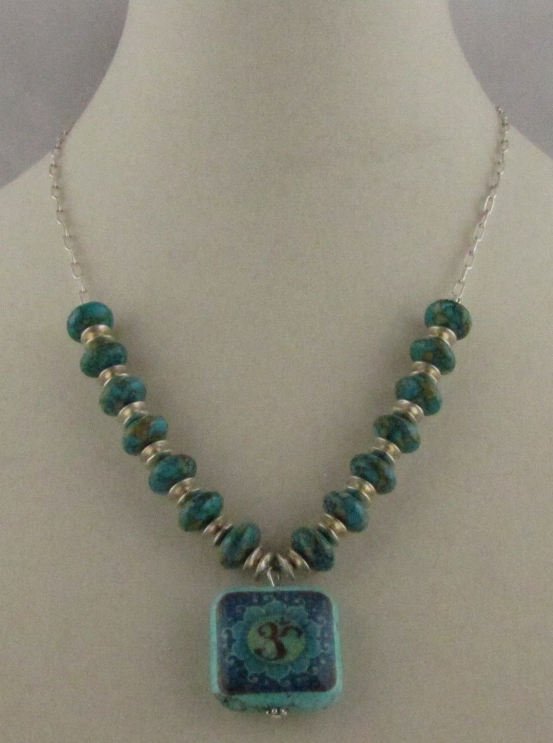 Sterling Silver and Mosaic Magnesite Om Necklace image 0