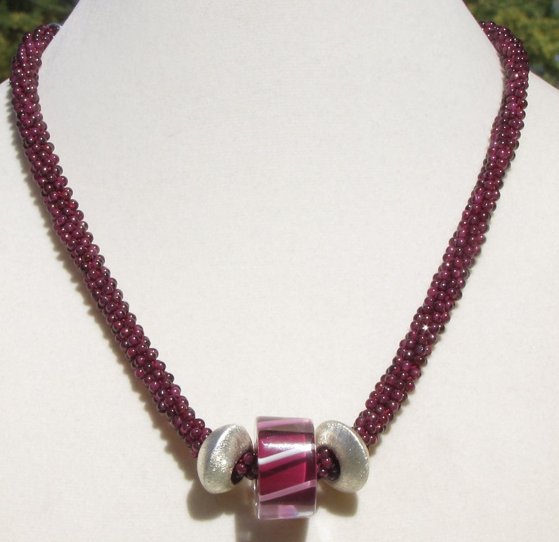 Kumihimo Garnet Necklace with Furnace Glass and Sterling Beads image 0