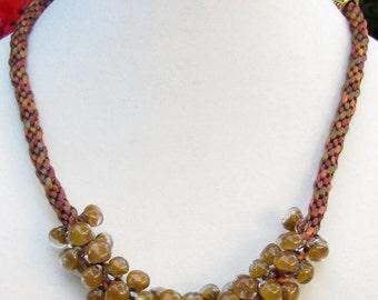 Kumihimo Caramel Necklace with Unicorne Beads