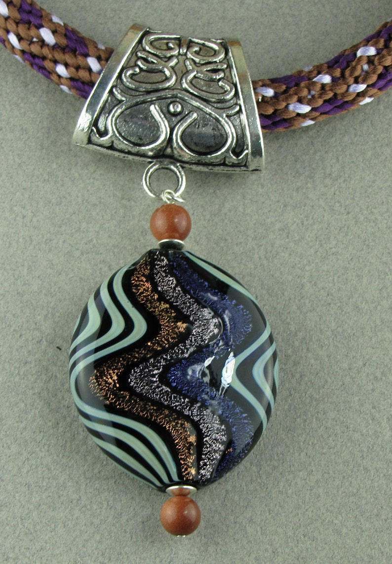 Kumihimo Purple and Brown Necklace with Venetian Glass Pendant image 0