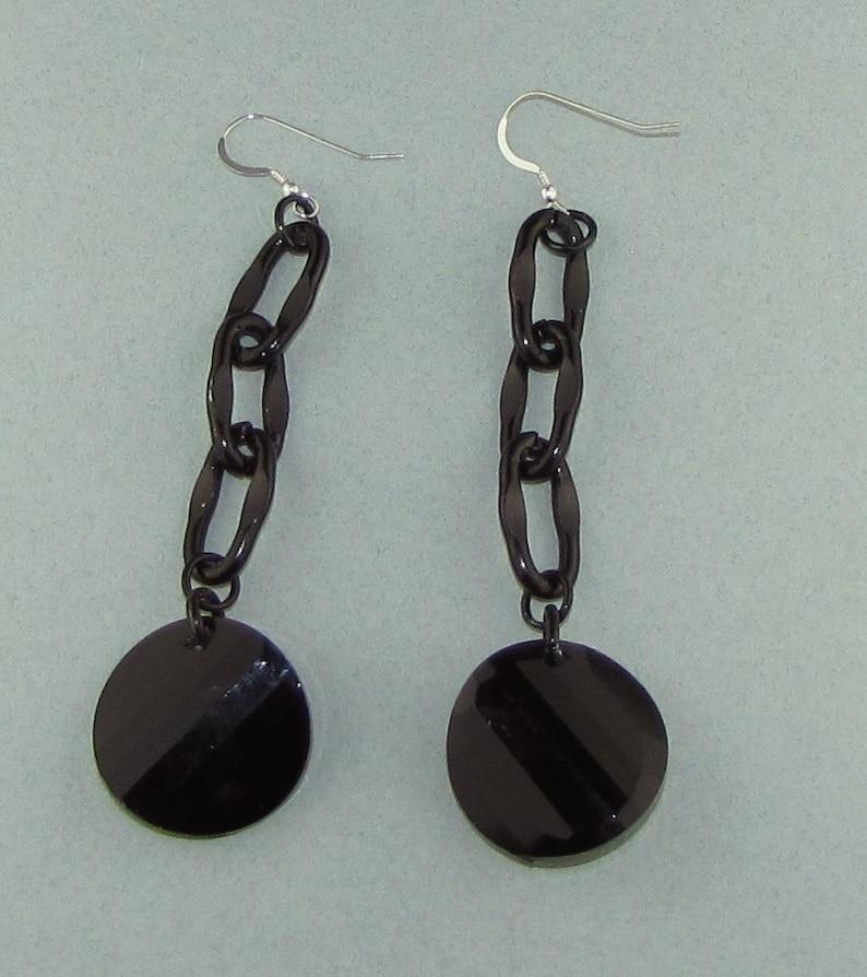 Black Dangle Crystal Earrings image 0