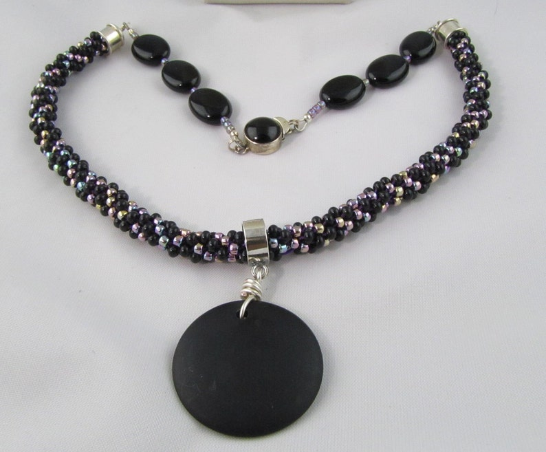 Onyx and Seed Bead Kumihimo Necklace image 0
