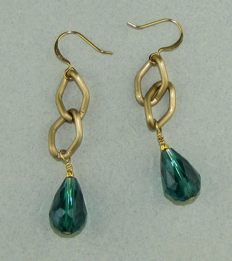 Green Crystal Dangle Earrings image 0