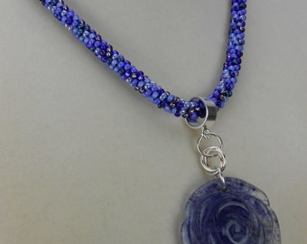 Blue Flower Kumihimo Necklace