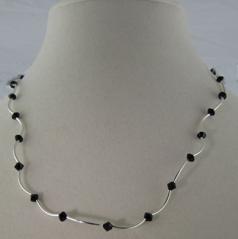 Jet Crystal and Silver Necklace image 0