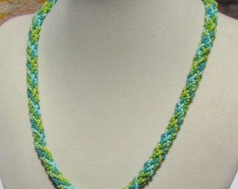 Turquoise and Green Kumihimo Necklace