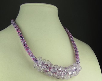 Pink and Purple Beaded Kumihimo Necklace