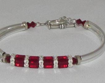 Siam Red Crystal Bangle Bracelet
