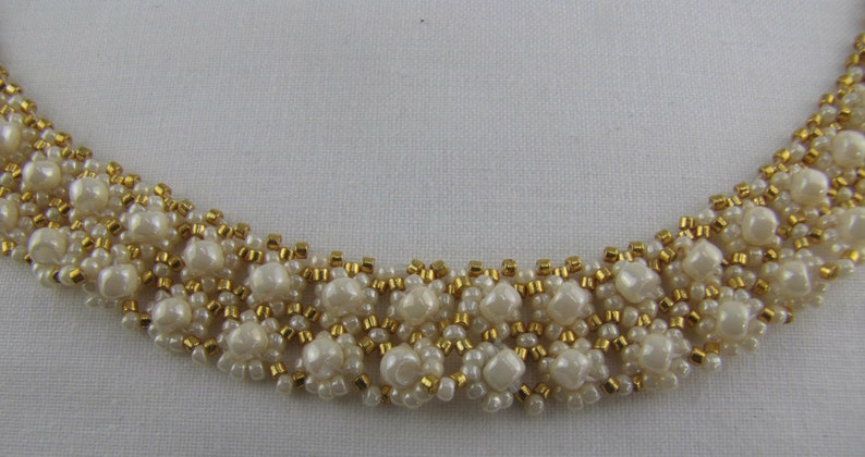 Ivory and Gold Collar Necklace image 0